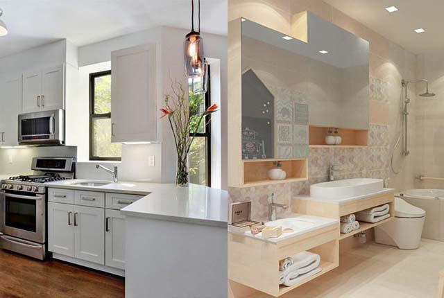 Mẫu thiết kế nhà vệ sinh và nhà bếp